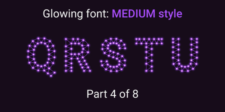 Violet Glowing font in the Outline style. Vector Alphabet with Connections, Lines, Polygonal structure and Glowing knots. Medium style, part 4 with uppercase letters Q R S T U