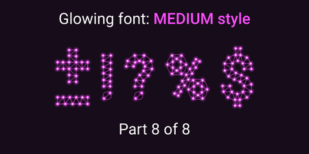 Purple Glowing font in the Outline style. Vector Alphabet with Connections, Lines, Polygonal structure and Glowing knots. Medium style, part 8 with symbols Plus, Minus, Percent, Dollar and other