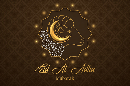Muslim holiday Eid al Adha Mubarak. Vector illustration of the Feast of sacrifice with Golden Ram and Crescent on the brown background. Graphic design of Eid al Fitr. Kurban Bayram festival