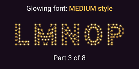 Golden Glowing font in the Outline style. Vector Alphabet with Connections, Lines, Polygonal structure and Glowing knots. Medium style, part 3 with uppercase letters L M N O P Stock Vector - 111789825