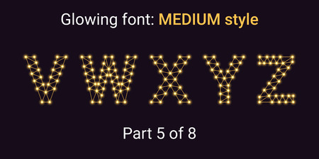 Golden Glowing font in the Outline style. Vector Alphabet with Connections, Lines, Polygonal structure and Glowing knots. Medium style, part 5 with uppercase letters V W X Y Z