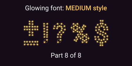 Golden Glowing font in the Outline style. Vector Alphabet with Connections, Lines, Polygonal structure and Glowing knots. Medium style, part 8 with symbols Plus, Minus, Percent, Dollar and other Illustration