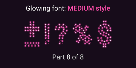 Pink Glowing font in the Outline style. Vector Alphabet with Connections, Lines, Polygonal structure and Glowing knots. Medium style, part 8 with symbols Plus, Minus, Percent, Dollar and other
