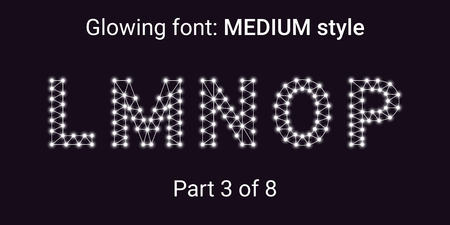 White Glowing font in the Outline style. Vector Alphabet with Connections, Lines, Polygonal structure and Glowing knots. Medium style, part 3 with uppercase letters L M N O P