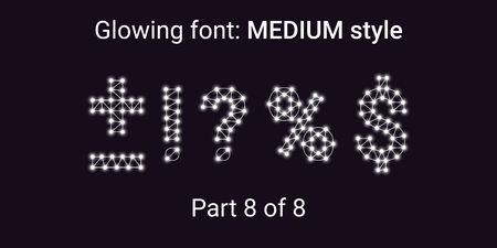 White Glowing font in the Outline style. Vector Alphabet with Connections, Lines, Polygonal structure and Glowing knots. Medium style, part 8 with symbols Plus, Minus, Percent, Dollar and other Illustration