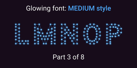 Blue Glowing font in the Outline style. Vector Alphabet with Connections, Lines, Polygonal structure and Glowing knots. Medium style, part 3 with uppercase letters L M N O P Stock Vector - 111789847