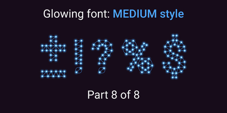 Blue Glowing font in the Outline style. Vector Alphabet with Connections, Lines, Polygonal structure and Glowing knots. Medium style, part 8 with symbols Plus, Minus, Percent, Dollar and other
