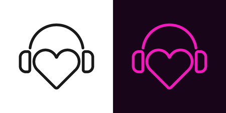 Heart with headphones in outline style. Vector illustration of DJ heart icon with headphones in black and purple color. Isolated graphic element for decoration of Musical festival or Radio show
