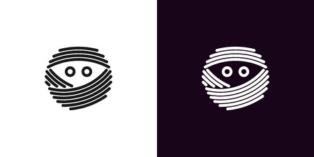Mummy face with eyes in outline style. Vector illustration icon of bandaged Mummy head with eyes in black and white color. Isolated graphic element for decoration of Halloween holiday