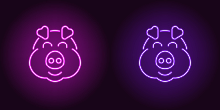 Neon piglet face in purple and violet color. Vector illustration of cartoon Pig head with smile in glowing neon style. Illuminated graphic element for decoration of New Year holiday