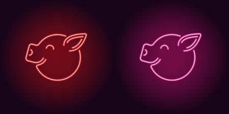 Neonowa buzia prosiaka w kolorze czerwono-różowym. Ilustracja wektorowa kreskówka głowa świni z uśmiechem w świecącym stylu neon. Podświetlany element graficzny do dekoracji świąt noworocznych
