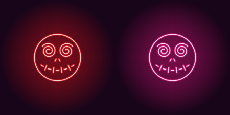 Neon zombie head in red and pink color. Vector illustration icon of Zombie face with spiral eyes in glowing neon style. Illuminated graphic element for decoration of Halloween holiday