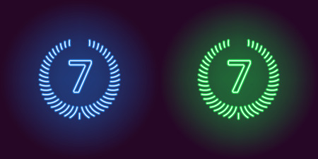Neon Seventh place in blue and green color. Vector illustration icon of seventh Position in glowing neon style. Illuminated graphic Rating element for decoration