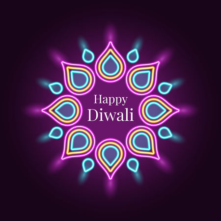 Happy Diwali, banner in bright Neon style. Vector illustration of Neon Rangoli with illumination, Diwali Festival of Lights. Indian holiday of Lights, Flame and Fireworks. Turquoise and purple colors