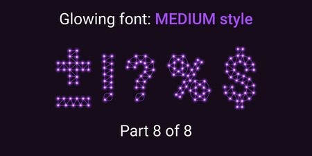 Violet Glowing font in the Outline style. Vector Alphabet with Connections, Lines, Polygonal structure and Glowing knots. Medium style, part 8 with symbols Plus, Minus, Percent, Dollar and other