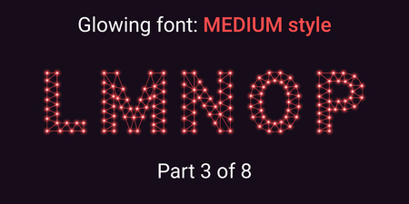 Red Glowing font in the Outline style. Vector Alphabet with Connections, Lines, Polygonal structure and Glowing knots. Medium style, part 3 with uppercase letters L M N O P
