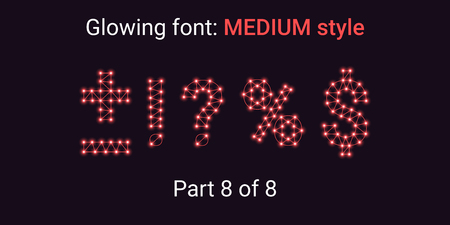 Red Glowing font in the Outline style. Vector Alphabet with Connections, Lines, Polygonal structure and Glowing knots. Medium style, part 8 with symbols Plus, Minus, Percent, Dollar and other