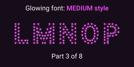 Purple Glowing font in the Outline style. Vector Alphabet with Connections, Lines, Polygonal structure and Glowing knots. Medium style, part 3 with uppercase letters L M N O P