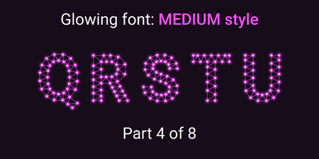 Purple Glowing font in the Outline style. Vector Alphabet with Connections, Lines, Polygonal structure and Glowing knots. Medium style, part 4 with uppercase letters Q R S T U