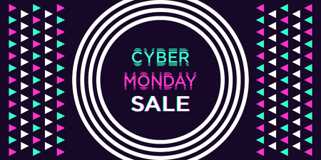 Cyber Monday Sale, Banner. Vector illustration of Cyber Monday billboard with border of concentric circles and triangles, holiday poster. Dark background, white turquoise and purple elements