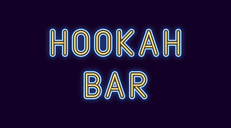 Neon inscription of Hookah Bar. Vector illustration, neon Text of Hookah Bar with glowing backlight, Blue and Yellow colors. Isolated graphic element on the dark background for design Vettoriali
