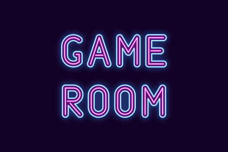 Neon inscription of Game Room. Vector illustration, neon Text of Game Room with glowing backlight, Blue and Purple colors. Isolated graphic element on the dark background for design