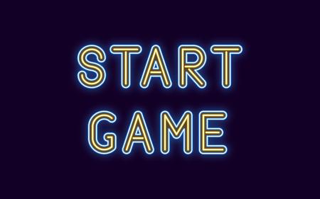 Inscription au néon de Start Game. Illustration vectorielle, texte néon du jeu de démarrage avec rétro-éclairage lumineux, couleurs bleu et jaune. Élément graphique isolé sur fond sombre pour la conception