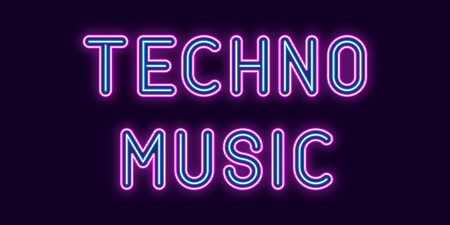 Neon inscription of Techno Music. Vector illustration, neon Text of Techno Music with glowing backlight, Purple and Blue colors. Isolated graphic element on the dark background for design