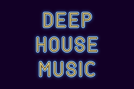 Neon inscription of Deep House Music. Vector illustration, neon Text of House Music with glowing backlight, Blue and Yellow colors. Isolated graphic element on the dark background for design