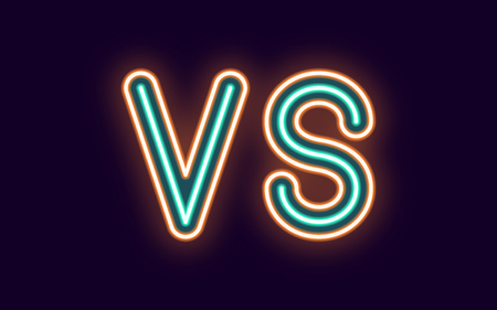 Neon inscription of Versus. Vector illustration, neon Text of VS with glowing backlight, Orange and Turquoise colors. Isolated graphic element on the dark background for design