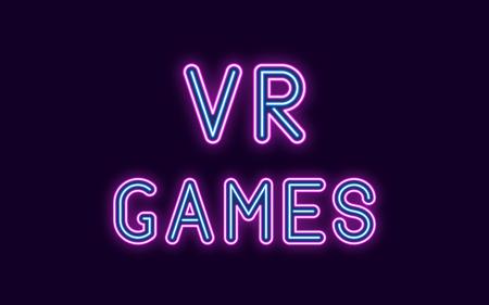 Inscription au néon des jeux VR. Illustration vectorielle, néon Texte des jeux de réalité virtuelle avec rétroéclairage lumineux, couleurs violet et bleu. Élément graphique isolé sur fond sombre pour la conception Vecteurs