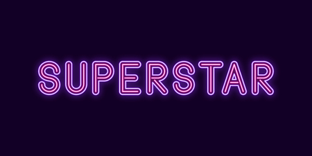 Neon inscription of Superstar. Vector illustration, neon Text of Superstar with glowing backlight, Violet and Pink colors. Isolated graphic element on the dark background for design