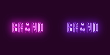 Inscription of Brand in neon style. Vector illustration, glowing Text of Brand in purple and violet color. Isolated graphic element, icon and symbol on the dark background for design Ilustração