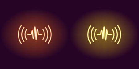 Onda sonora al neon, segno luminoso. Illustrazione vettoriale di assistente audio vocale con onde acustiche in stile neon, colori arancioni e gialli. Icona e simbolo luminosi