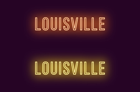 Neon name of Louisville city in USA. Vector text of Louisville, Neon inscription with backlight in Thin style, orange and yellow colors. Isolated glowing title for decoration. Without overlay mode