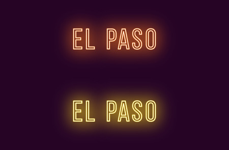 Neon name of El Paso city in USA. Vector text of El Paso, Neon inscription with backlight in Thin style, orange and yellow colors. Isolated glowing title for decoration. Without overlay mode