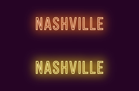 Neon name of Nashville city in USA. Vector text of Nashville, Neon inscription with backlight in Thin style, orange and yellow colors. Isolated glowing title for decoration. Without overlay mode