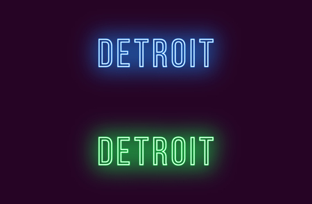 Neon name of Detroit city in USA. Vector text of Detroit, Neon inscription with backlight in Thin style, blue and green colors. Isolated glowing title for decoration. Without overlay mode