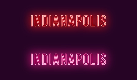 Neon name of Indianapolis city in USA. Vector text of Indianapolis, Neon inscription with backlight in Thin style, red and pink colors. Isolated glowing title for decoration. Without overlay mode