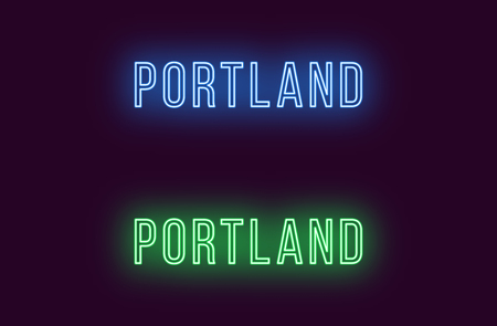 Neon name of Portland city in USA. Vector text of Portland, Neon inscription with backlight in Thin style, blue and green colors. Isolated glowing title for decoration. Without overlay mode