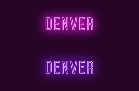 Neon name of Denver city in USA. Vector text of Denver, Neon inscription with backlight in Thin style, purple and violet colors. Isolated glowing title for decoration. Without overlay mode