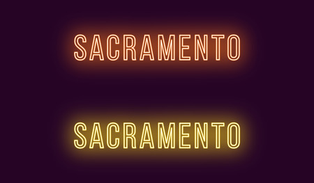 Neon name of Sacramento city in USA. Vector text of Sacramento, Neon inscription with backlight in Thin style, orange and yellow colors. Isolated glowing title for decoration. Without overlay mode