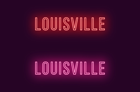 Neon name of Louisville city in USA. Vector text of Louisville, Neon inscription with backlight in Thin style, red and pink colors. Isolated glowing title for decoration. Without overlay mode