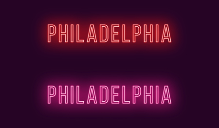 Neon name of Philadelphia city in USA. Vector text of Philadelphia, Neon inscription with backlight in Thin style, red and pink colors. Isolated glowing title for decoration. Without overlay mode Ilustração