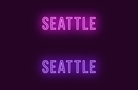 Neon name of Seattle city in USA. Vector text of Seattle, Neon inscription with backlight in Thin style, purple and violet colors. Isolated glowing title for decoration. Without overlay mode