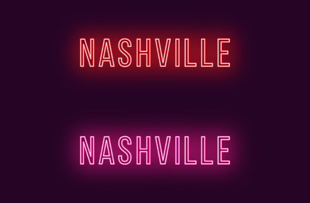 Neon name of Nashville city in USA. Vector text of Nashville, Neon inscription with backlight in Thin style, red and pink colors. Isolated glowing title for decoration. Without overlay mode