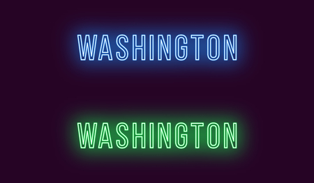 Neon name of Washington city in USA. Vector text of Washington, Neon inscription with backlight in Thin style, blue and green colors. Isolated glowing title for decoration. Without overlay mode