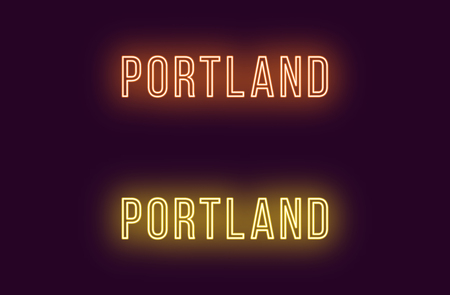 Neon name of Portland city in USA. Vector text of Portland, Neon inscription with backlight in Thin style, orange and yellow colors. Isolated glowing title for decoration. Without overlay mode