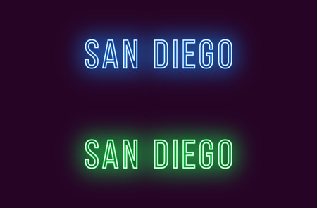 Neon name of San Diego city in USA. Vector text of San Diego, Neon inscription with backlight in Thin style, blue and green colors. Isolated glowing title for decoration. Without overlay mode