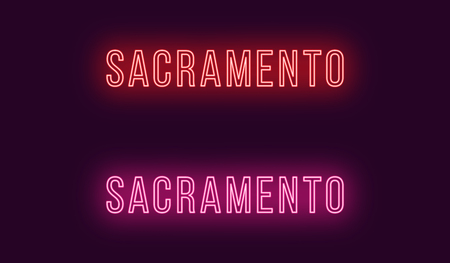 Neon name of Sacramento city in USA. Vector text of Sacramento, Neon inscription with backlight in Thin style, red and pink colors. Isolated glowing title for decoration. Without overlay mode
